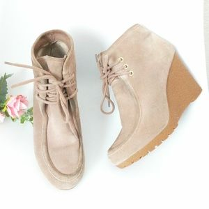 Michael Kors Leather Suede Lace Up Ankle Booties
